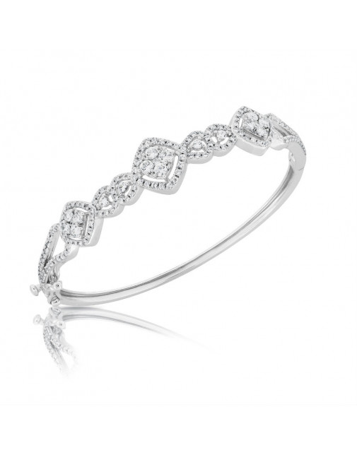 Fine Quality Diamond and Pear Shape Design Pave Bangle with a Round Diamond in each Section in 9ct White Gold