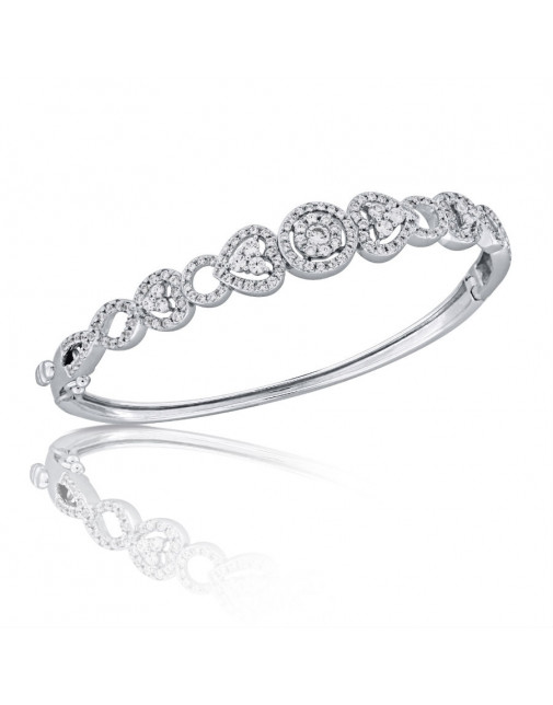 Fine Quality Heart and Round Shape Design Pave Bangle with a Round Diamond in each Section in 9ct White Gold