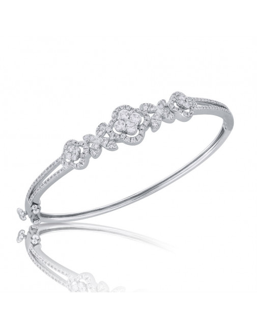 Fine Quality Flower Shape Design Pave Bangle with a Round Diamond in each Section in 9ct White Gold