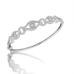 Fine Quality Deco Design Pave Bangle with a Round Diamond in each Section in 9ct White Gold