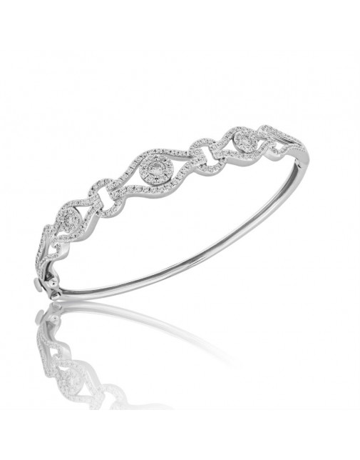 Fine Quality Deco Design Pave Bangle with a Round Diamond in each Section in 18ct White Gold