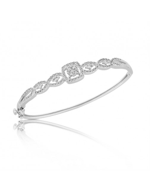 Fine Quality S-Shape and Square Design Pave Bangle with a Round Diamond in each Section in 9ct White Gold