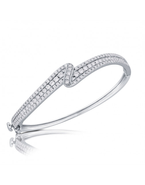 Fine Quality 3-Row S-Shape Design Pave Bangle with a Round Diamond in each Section in 18ct White Gold