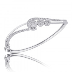 Fine Quality Abstract Design Pave Bangle with a Round Diamond in each Section in 9ct White Gold