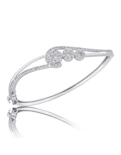 Fine Quality Abstract Design Pave Bangle with a Round Diamond in each Section in 18ct White Gold