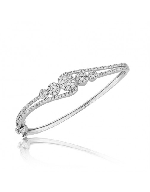 Fine Quality 5 Cluster Flower Design Pave Bangle with a Round Diamond in each Section in 9ct White Gold