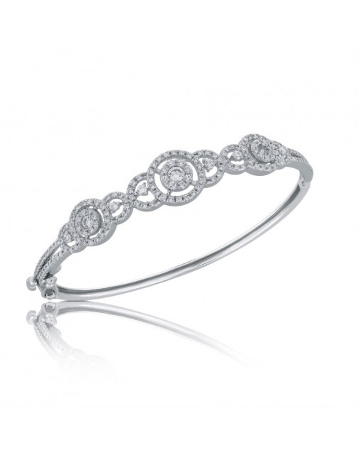 Fine Quality Circular and Deco Design Pave Bangle with a Round Diamond in each Section in 18ct White Gold