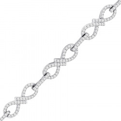 Figure of 8 Design Pave set Diamond Bracelet in 9ct White Gold