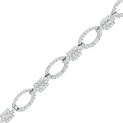 Small Oval and Bar Design Pave set Diamond Bracelet in 9ct White Gold