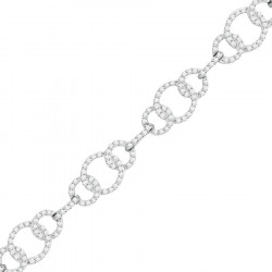 Chain Link Design Pave set Diamond Bracelet in 9ct White Gold