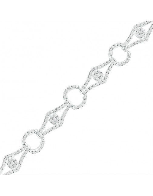 Diamond and Round Design Pave set Diamond Bracelet in 9ct White Gold
