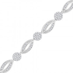 Marquise and Round Design Pave Set Bracelet in 9ct White Gold