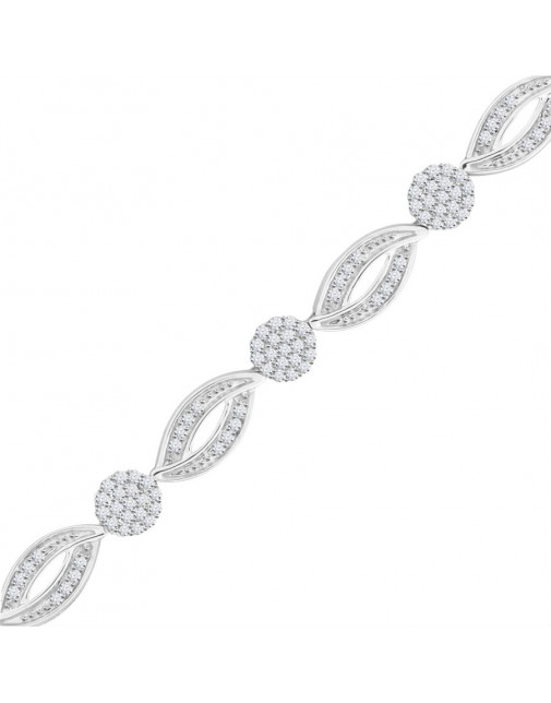 Marquise and Round Design Pave Set Bracelet in 18ct White Gold