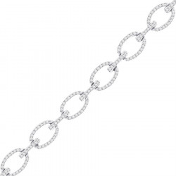 Large Oval and Bar Design Pave set Diamond Bracelet in 9ct White Gold