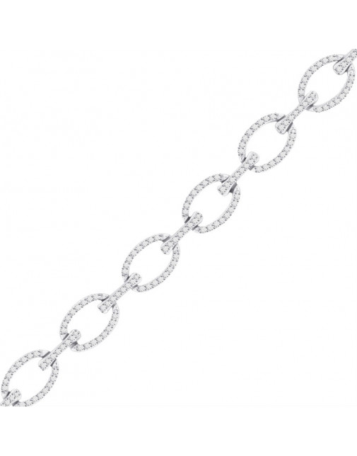 Large Oval And Bar Design Pave Set Diamond Bracelet In