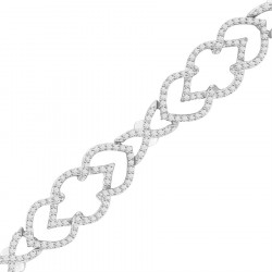 Deco Shape Design Pave set Diamond Bracelet in 9ct White Gold