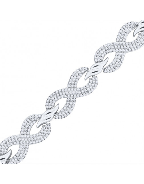Kiss Shape Design Pave set Diamond Bracelet in 9ct White Gold