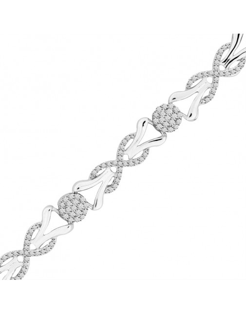 Reef Knot and Round Design Pave set Diamond Bracelet in 9ct White Gold