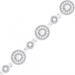 Round Link Design Diamond Bracelet in 9ct White Gold
