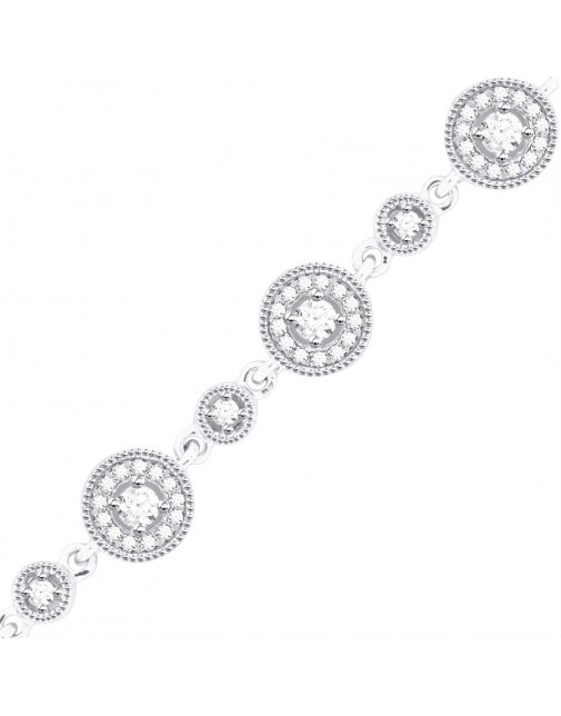 Round Link Design Diamond Bracelet in 18ct White Gold