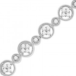 Large and Small Round Link Design Diamond Bracelet in 9ct White Gold