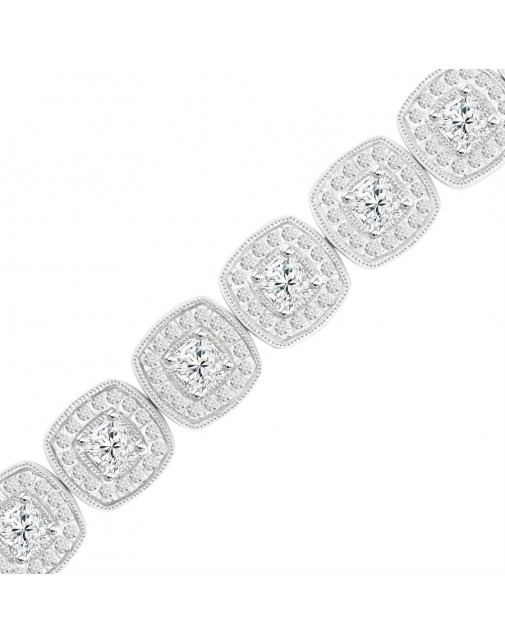 Cushion Shape Design Diamond Bracelet in 9ct White Gold