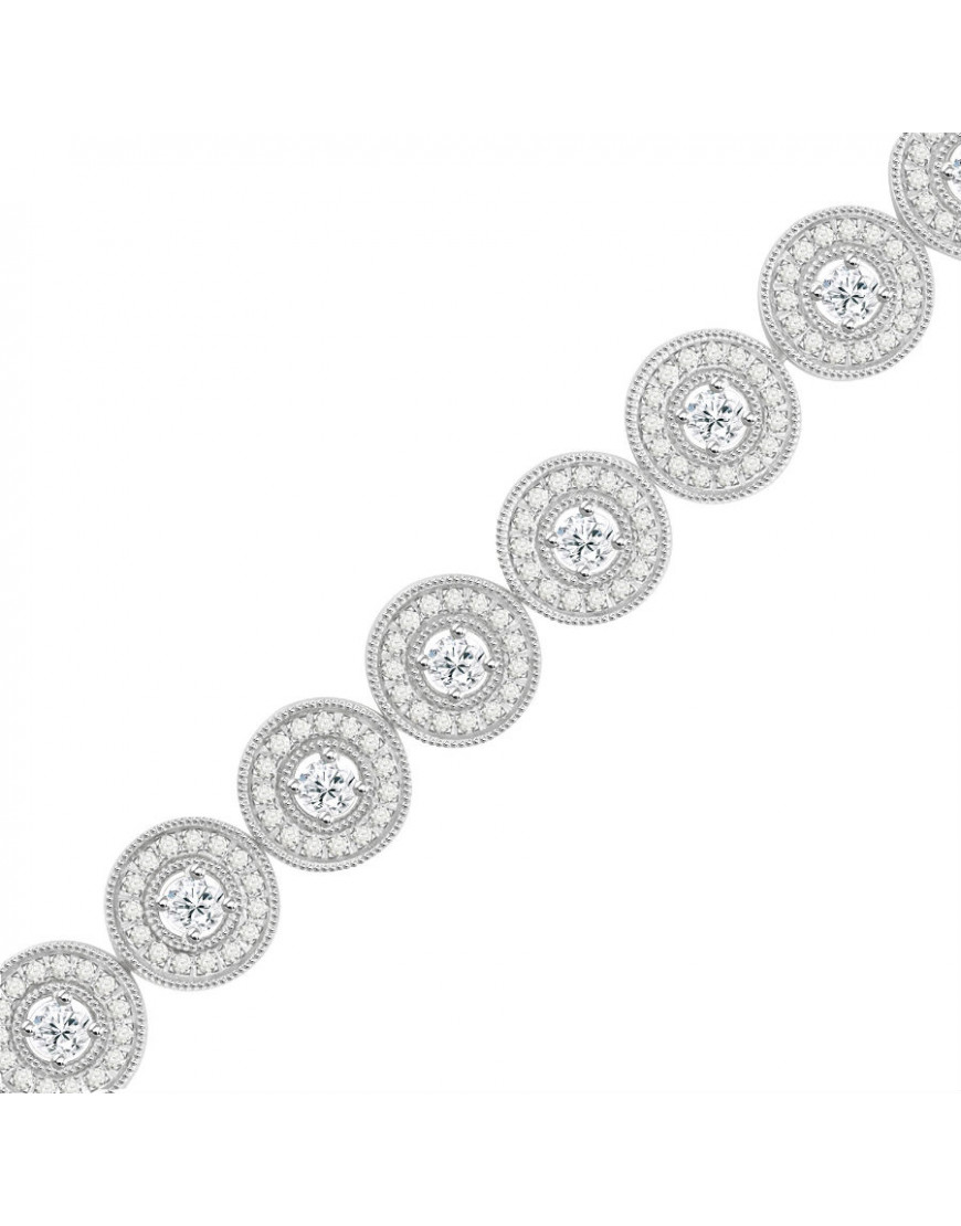 Halo Design Diamond Bracelet in 9ct White Gold