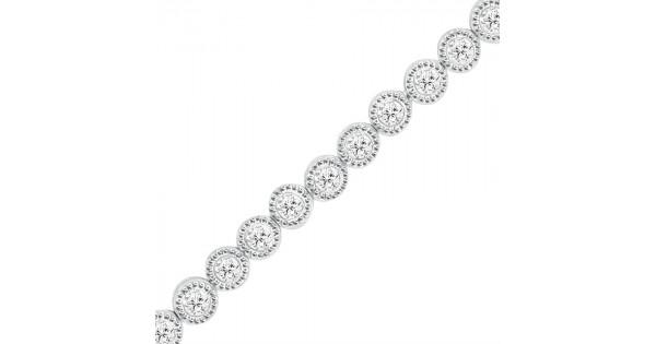 1 00ct Rub Over Diamond Bracelet In 18ct White Gold