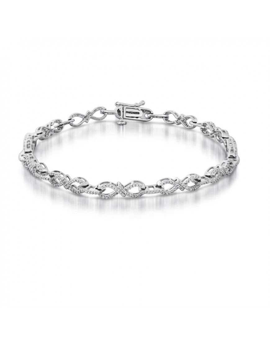 Figure Of 8 Design Pave Set Diamond Bracelet In 18ct White