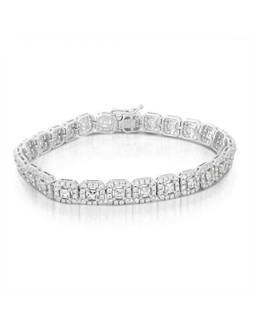 Box Design Diamond Bracelet in 18ct White Gold with Princess Cut ...
