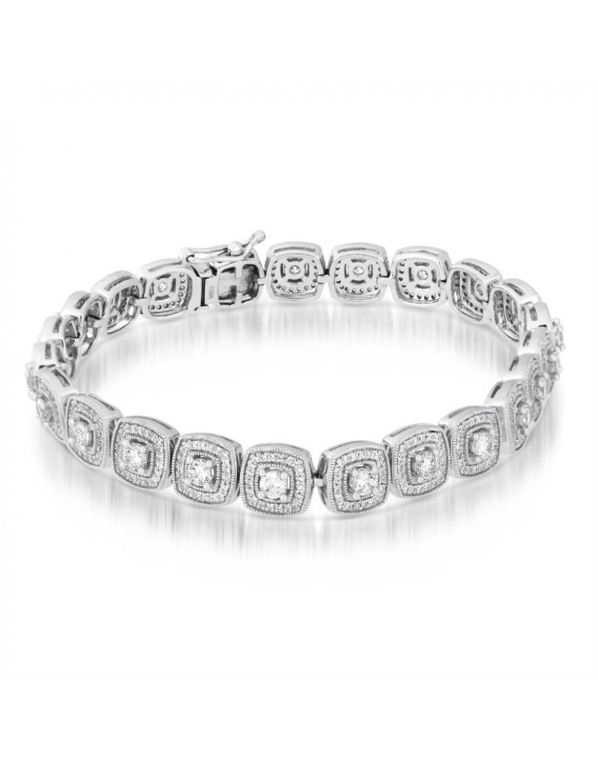 Diamond Anklet With Toe Ring Lc00035 In Anklets From: Cushion Shape Design Diamond Bracelet In 18ct White Gold