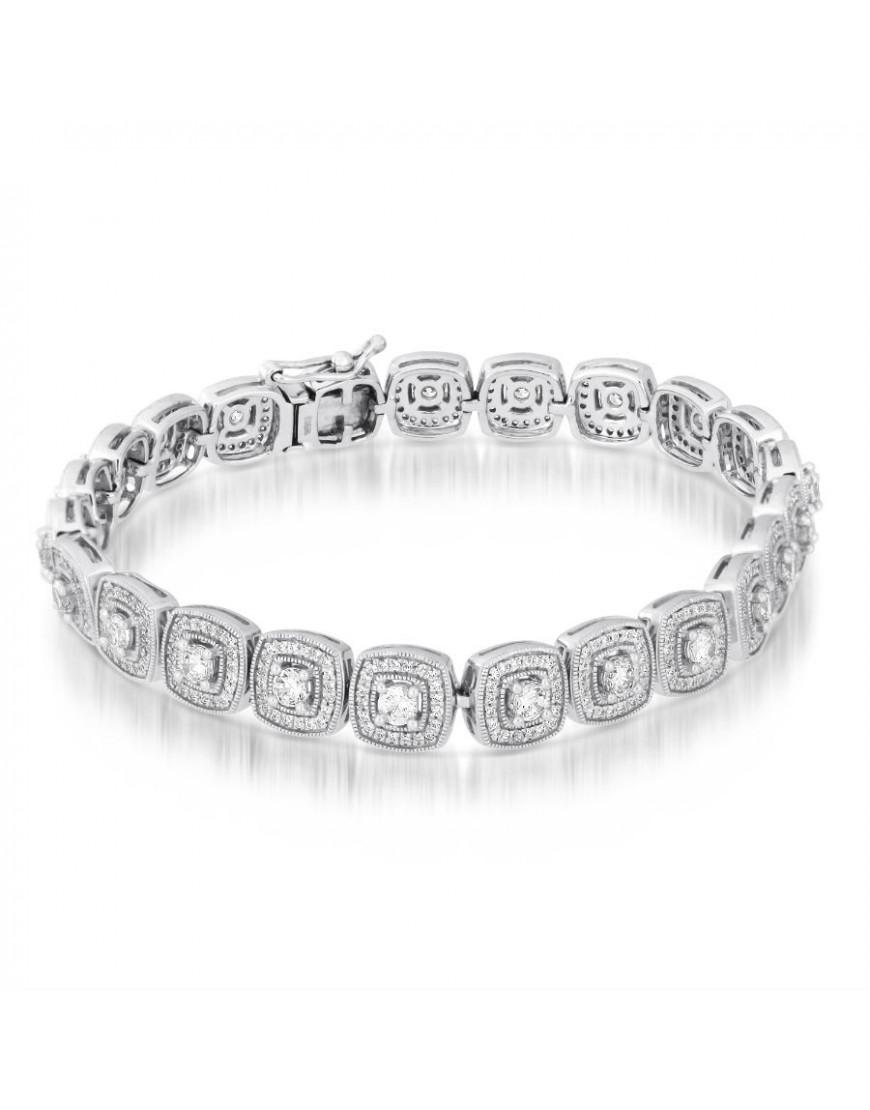 Cushion Shape Design Diamond Bracelet In 18ct White Gold