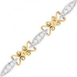 Victorian Style Ladies Diamond Bracelet in 9ct Yellow and White Gold