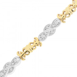 Trombone Style Ladies Diamond Bracelet in 9ct Yellow and White Gold
