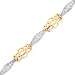 Kiss Style Ladies Diamond Bracelet in 9ct Yellow and White Gold