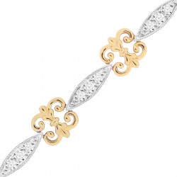 Scroll Style Ladies Diamond Bracelet in 9ct Yellow and White Gold