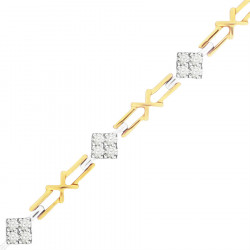 Kiss Link Style Ladies Diamond Bracelet in 9ct Yellow and White Gold