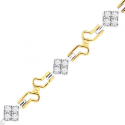 Fancy Link Style Ladies Diamond Bracelet in 9ct Yellow and White Gold