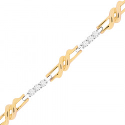 Fancy Chain Link Style Ladies Diamond Bracelet in 9ct Yellow and White Gold