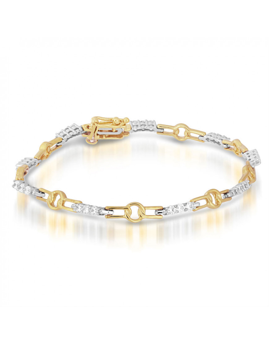 Chain Link Style Ladies Diamond Bracelet in 9ct Yellow and ...