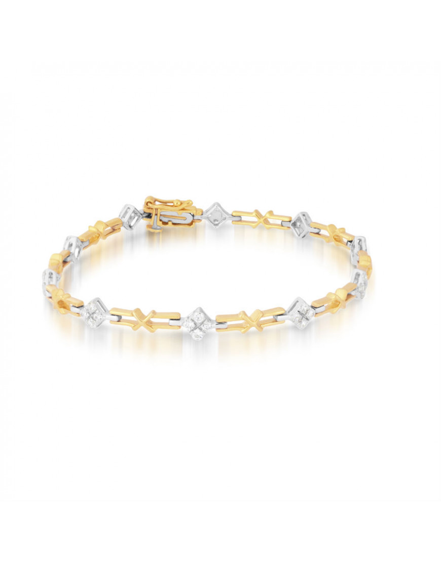 Link Style Ladies Diamond Bracelet in 9ct Yellow and White Gold